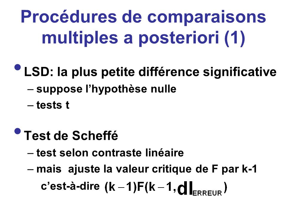 Procédures de comparaisons multiples a posteriori (1)