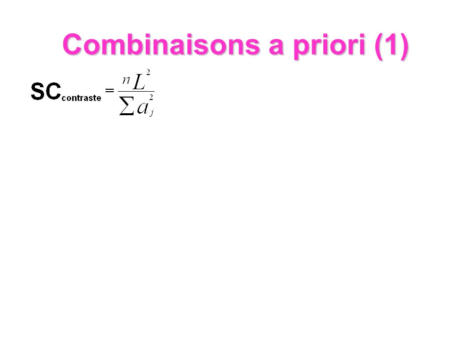 Combinaisons a priori (1)