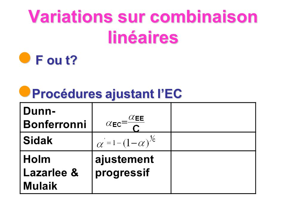 Variations sur combinaison linéaires