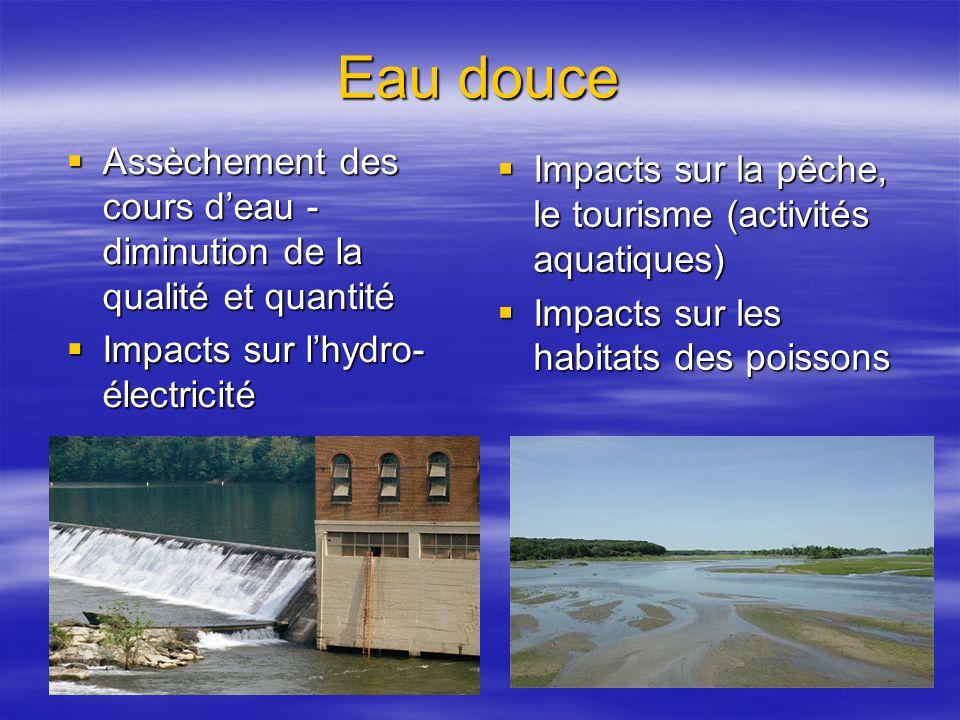 Eau douce Assèchement des cours d'eau - diminution de la qualité et quantité. Impacts sur l'hydro-électricité.
