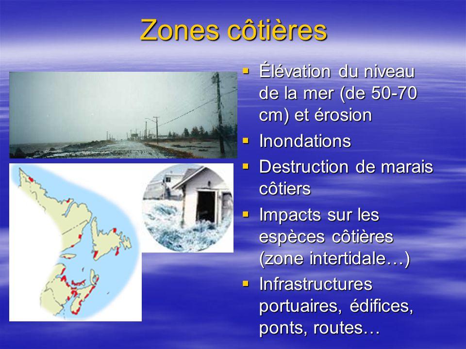 Zones côtières Élévation du niveau de la mer (de 50-70 cm) et érosion