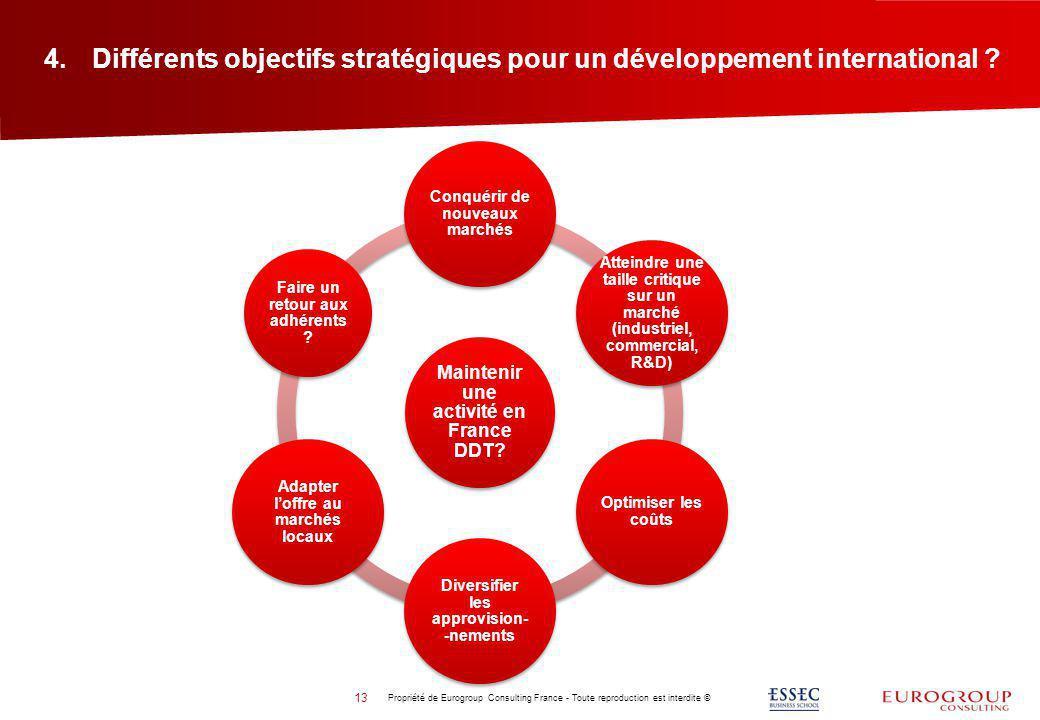 Différents objectifs stratégiques pour un développement international
