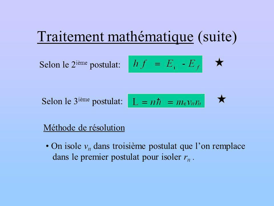 Traitement mathématique (suite)