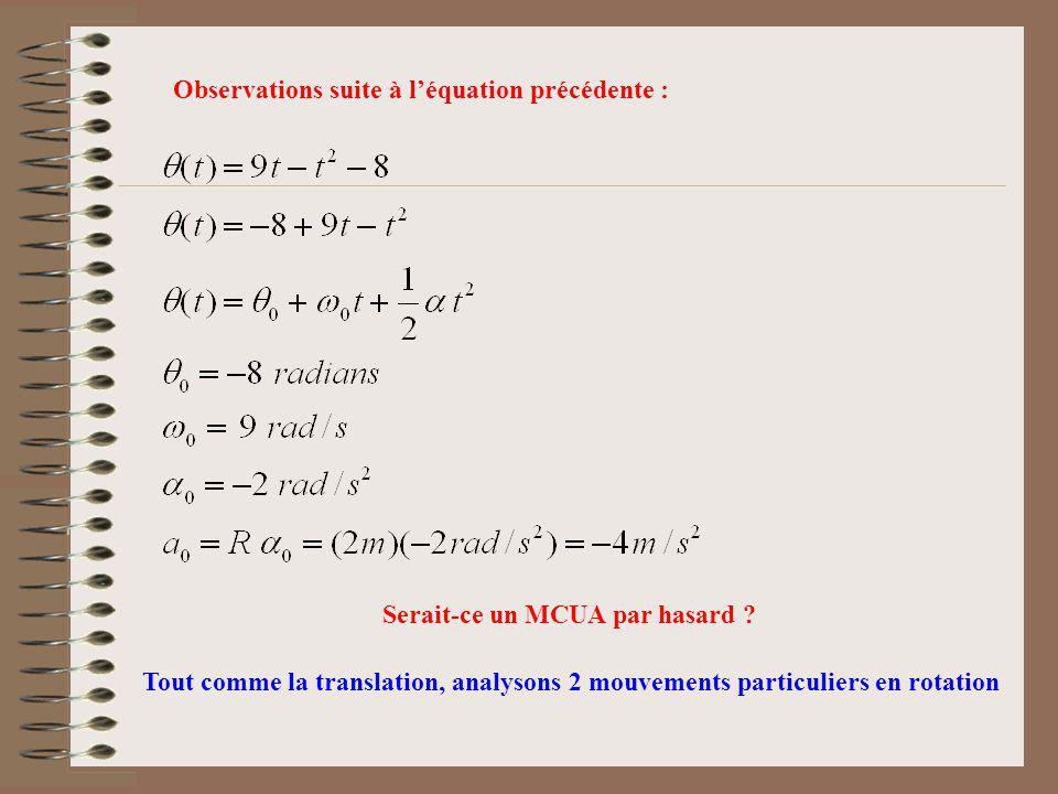 Observations suite à l'équation précédente :