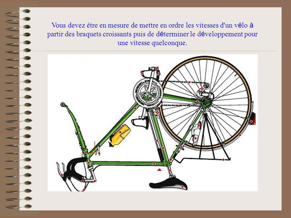 Vous devez être en mesure de mettre en ordre les vitesses d un vélo à partir des braquets croissants puis de déterminer le développement pour une vitesse quelconque.