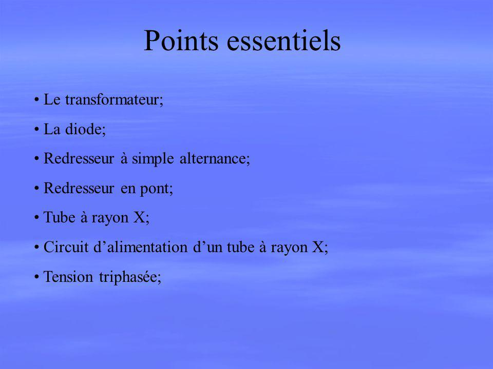 Points essentiels Le transformateur; La diode;
