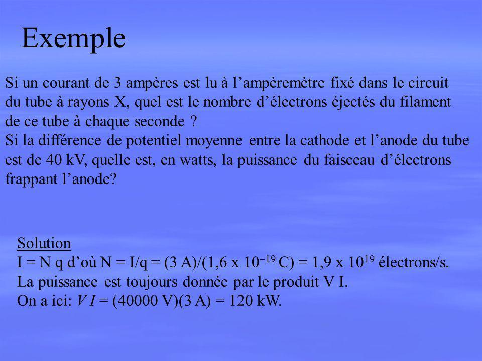 Exemple Si un courant de 3 ampères est lu à l'ampèremètre fixé dans le circuit.