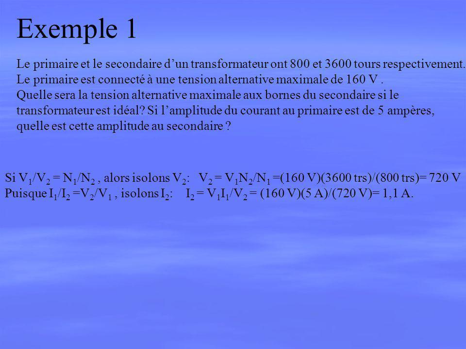 Exemple 1 Le primaire et le secondaire d'un transformateur ont 800 et 3600 tours respectivement.
