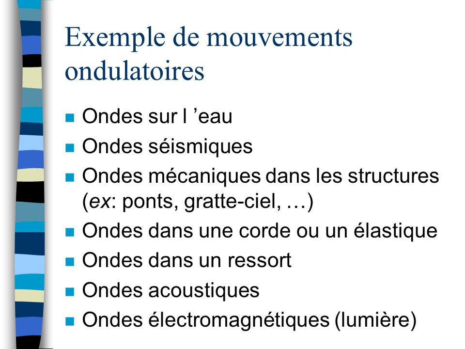 Exemple de mouvements ondulatoires