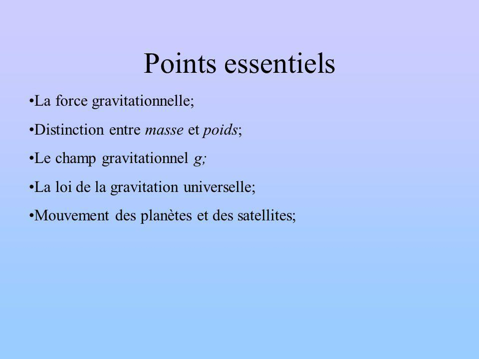 Points essentiels La force gravitationnelle;