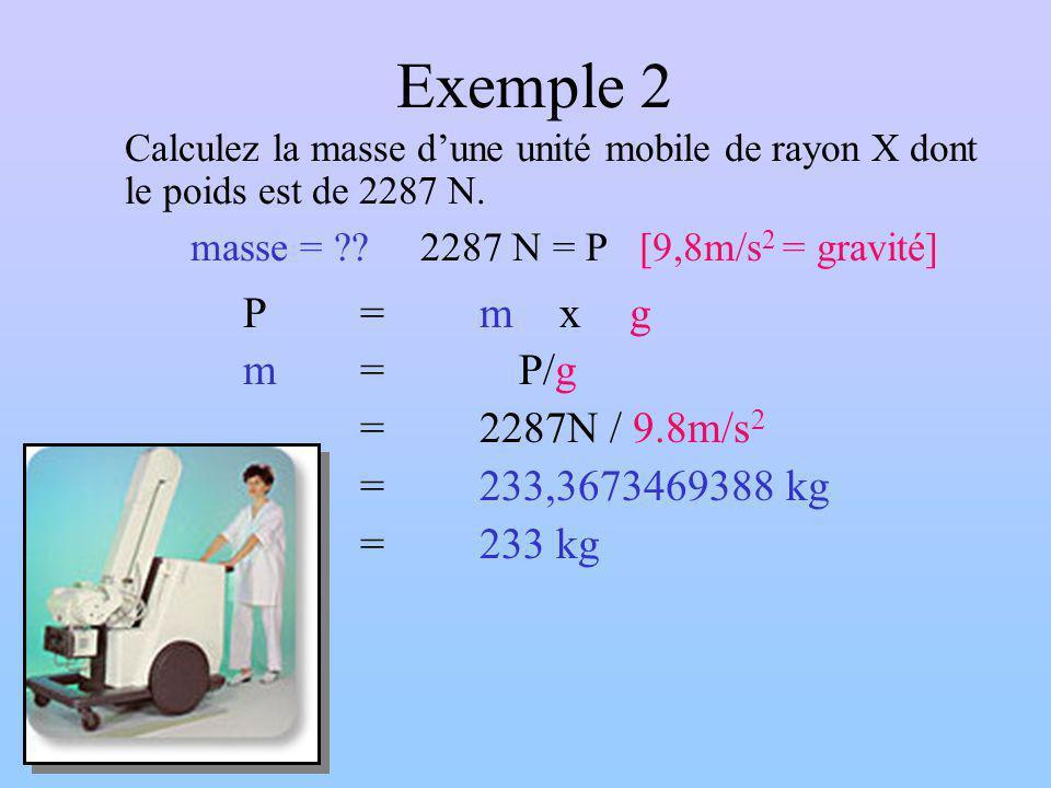 Exemple 2 m = P/g = 2287N / 9.8m/s2 = 233,3673469388 kg = 233 kg