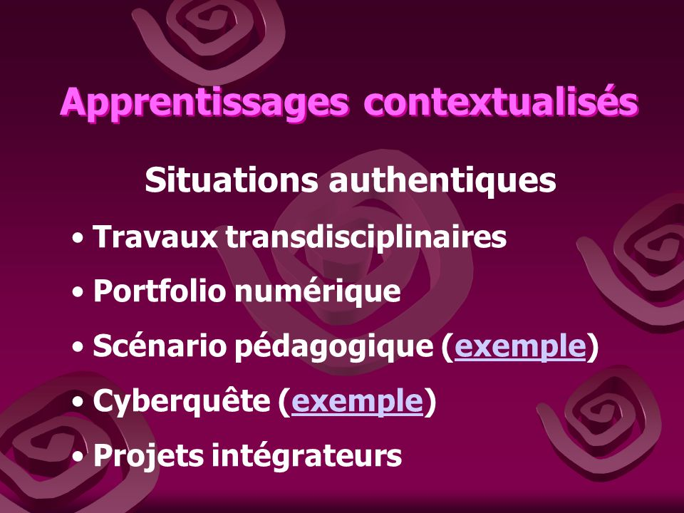 Apprentissages contextualisés