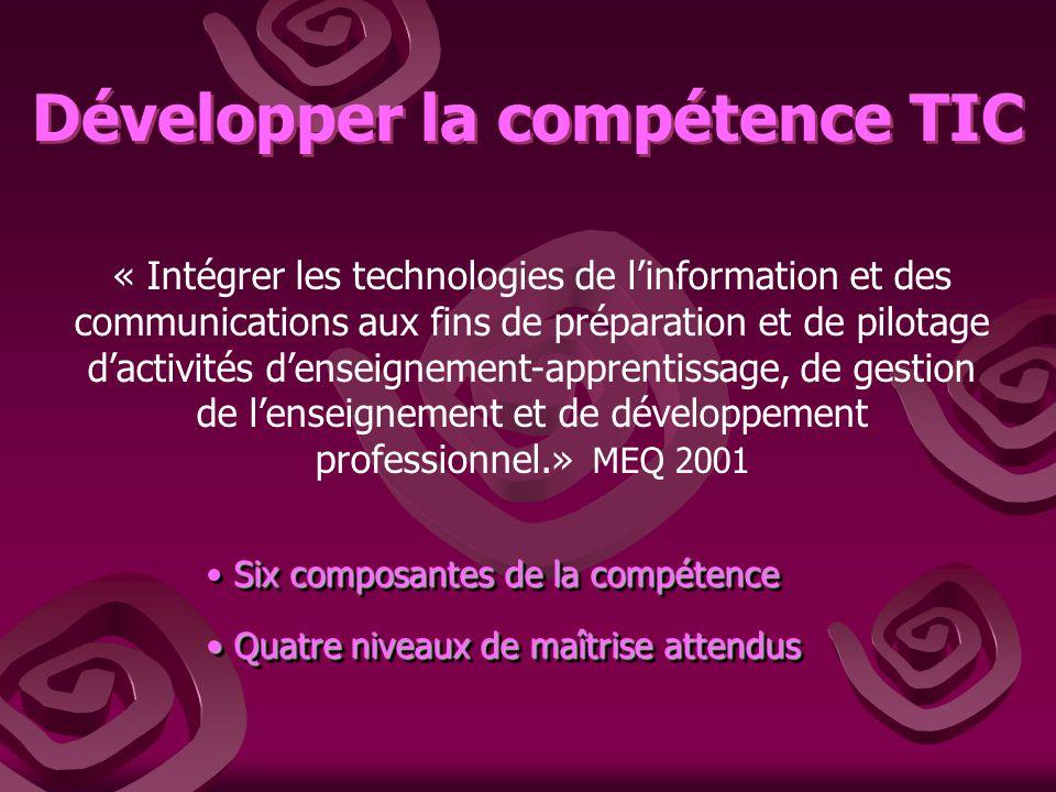 Développer la compétence TIC