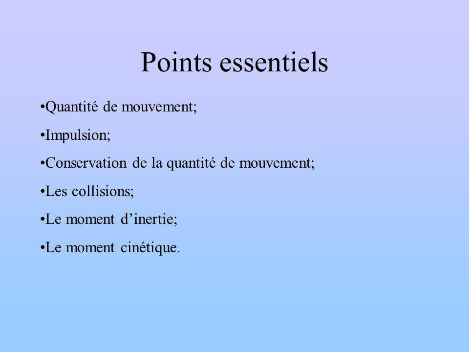 Points essentiels Quantité de mouvement; Impulsion;