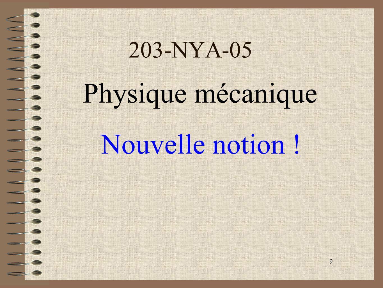 203-NYA-05 Physique mécanique Nouvelle notion ! 9