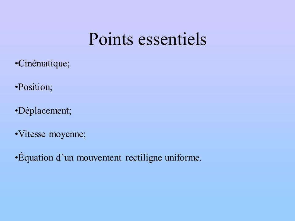 Points essentiels Cinématique; Position; Déplacement; Vitesse moyenne;