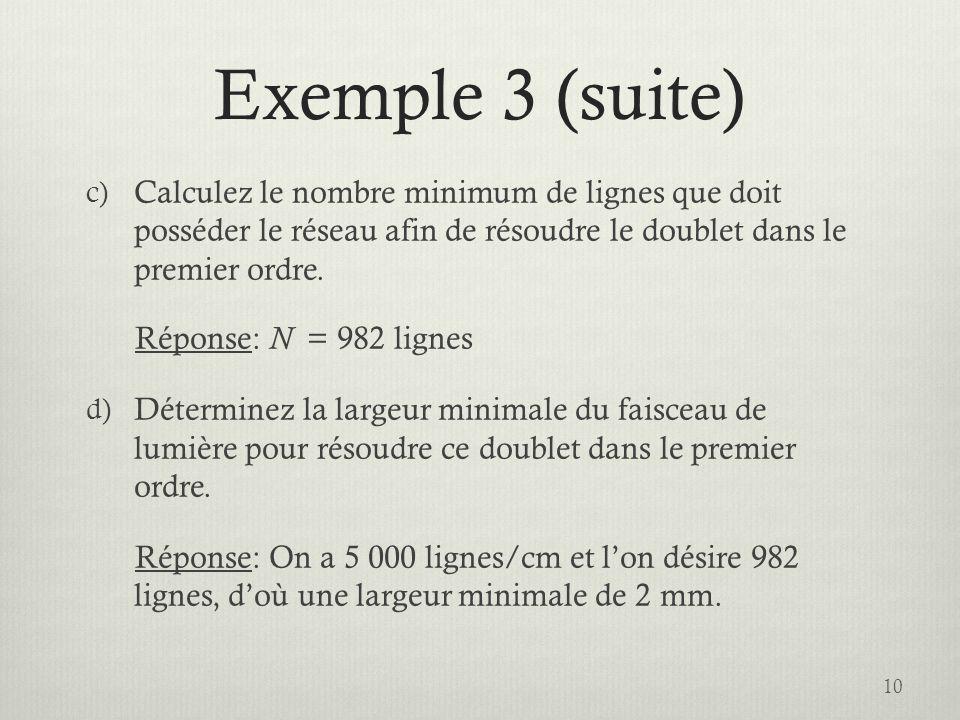 Exemple 3 (suite) Calculez le nombre minimum de lignes que doit posséder le réseau afin de résoudre le doublet dans le premier ordre.