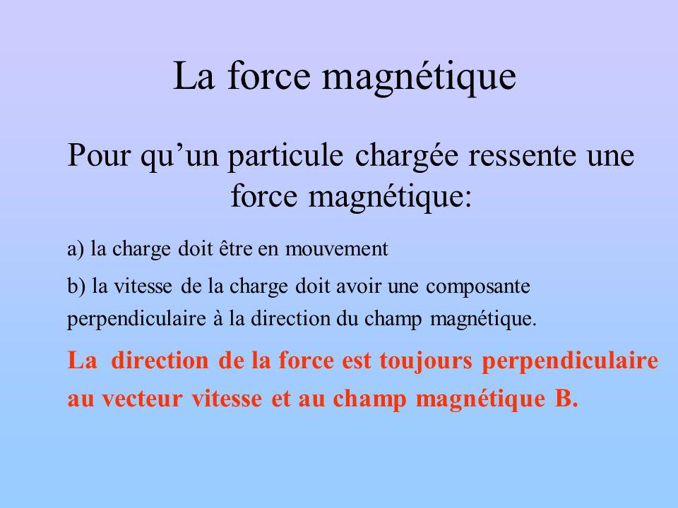 Pour qu'un particule chargée ressente une force magnétique: