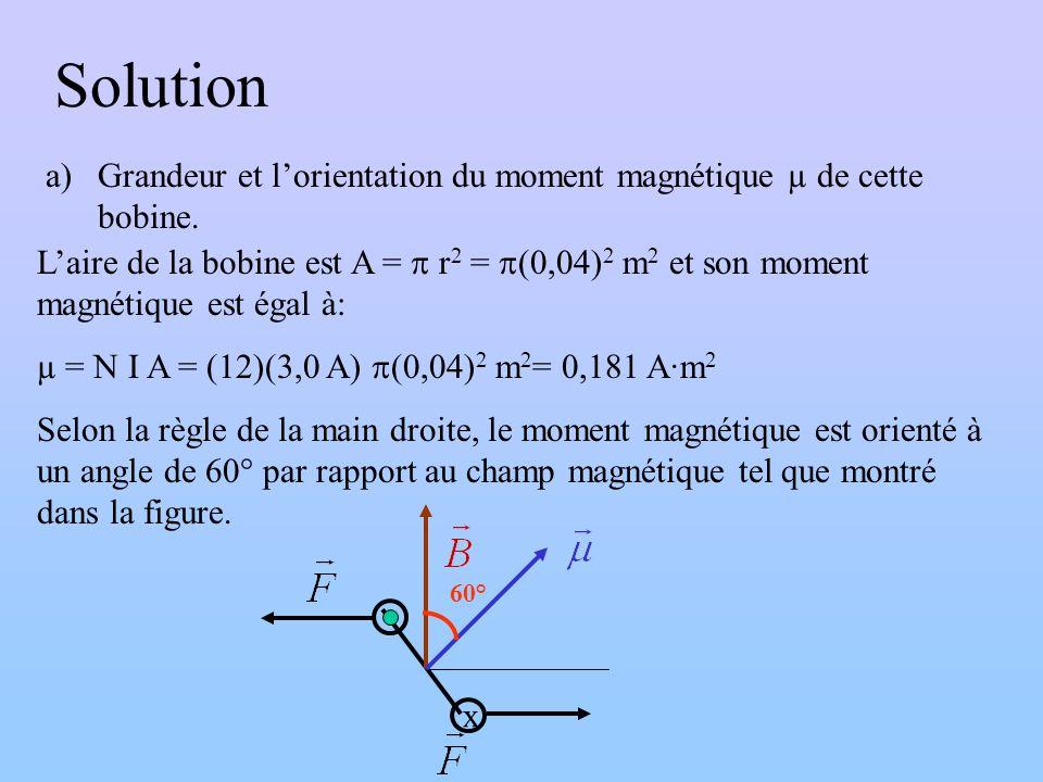 Solution Grandeur et l'orientation du moment magnétique µ de cette bobine.