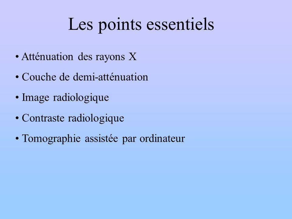 Les points essentiels Atténuation des rayons X