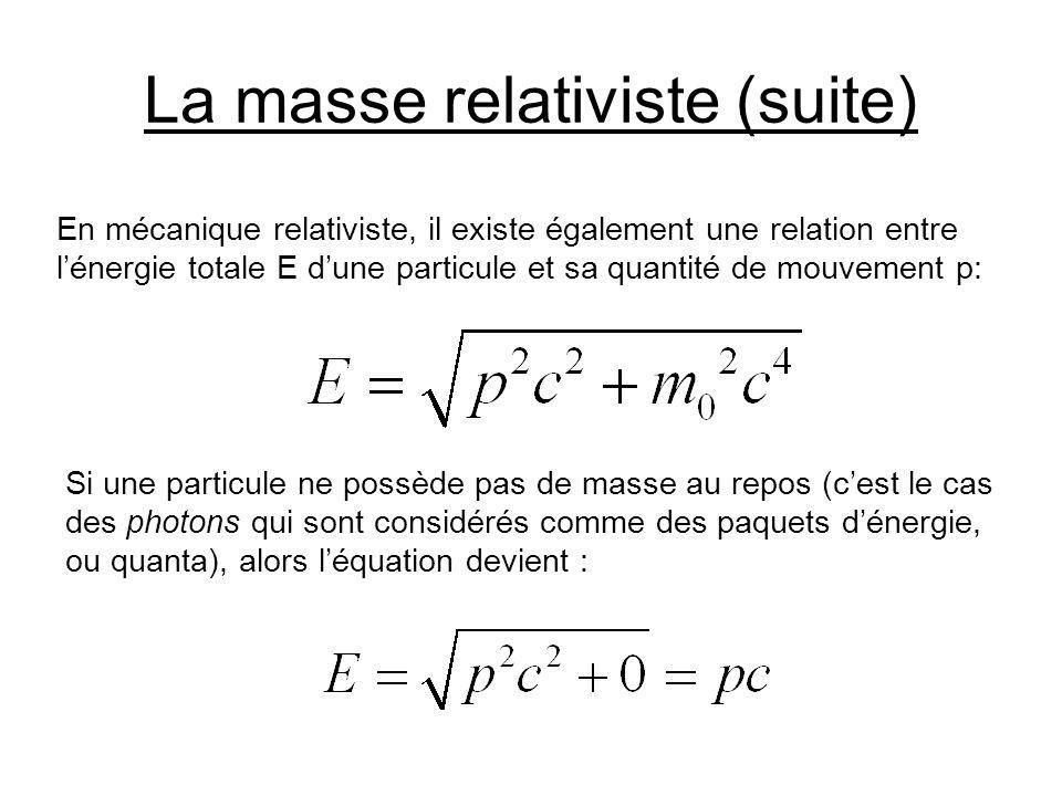 La masse relativiste (suite)