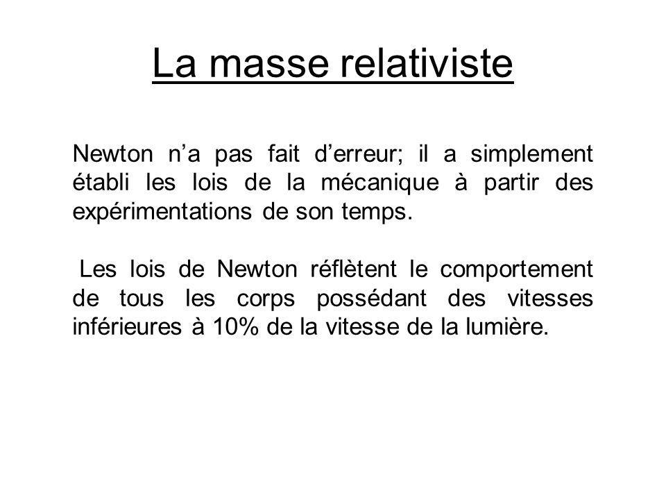 La masse relativiste Newton n'a pas fait d'erreur; il a simplement établi les lois de la mécanique à partir des expérimentations de son temps.