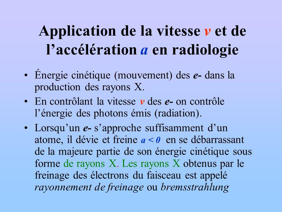 Application de la vitesse v et de l'accélération a en radiologie
