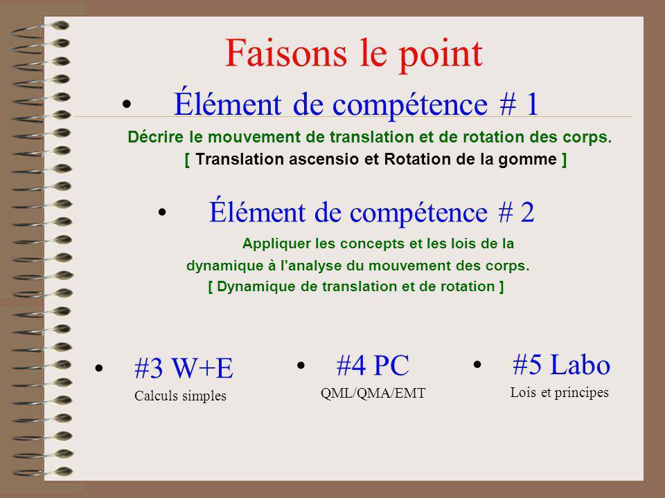 Faisons le point Élément de compétence # 1 Élément de compétence # 2