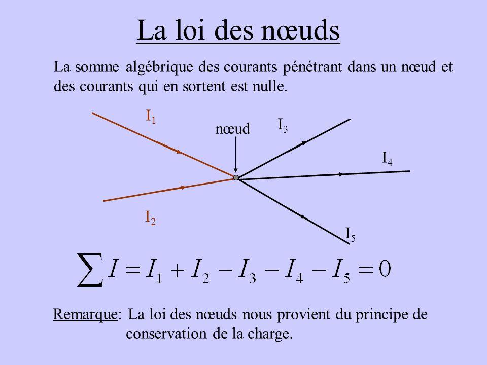 La loi des nœuds La somme algébrique des courants pénétrant dans un nœud et. des courants qui en sortent est nulle.