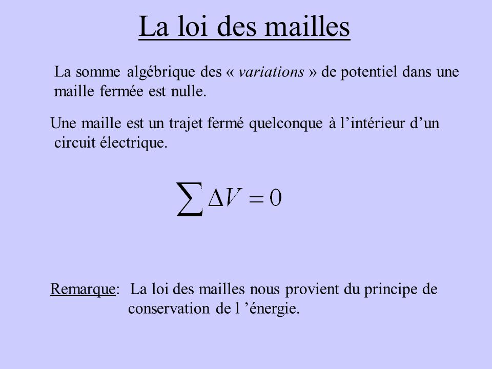 La loi des mailles La somme algébrique des « variations » de potentiel dans une. maille fermée est nulle.