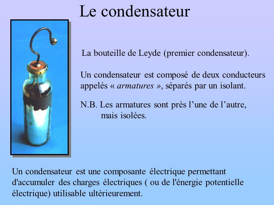 Le condensateur La bouteille de Leyde (premier condensateur).