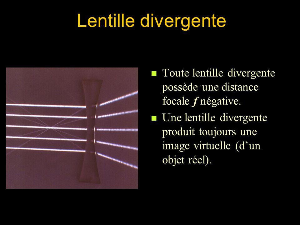 Lentille divergente Toute lentille divergente possède une distance focale f négative.