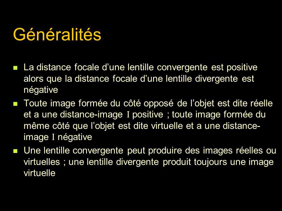 Généralités La distance focale d'une lentille convergente est positive alors que la distance focale d'une lentille divergente est négative.