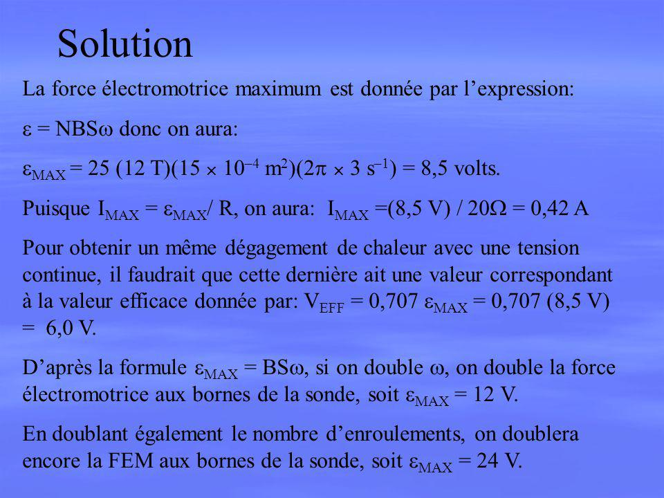 Solution La force électromotrice maximum est donnée par l'expression: