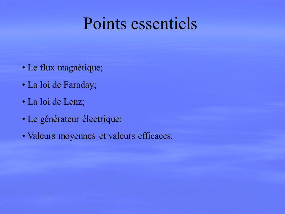 Points essentiels Le flux magnétique; La loi de Faraday;
