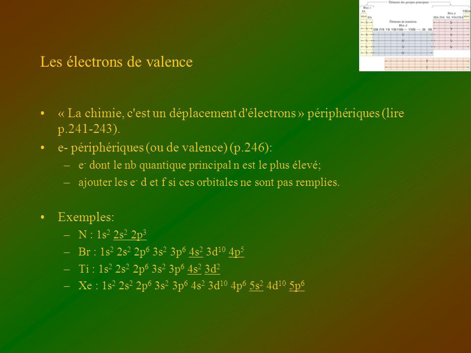Les électrons de valence