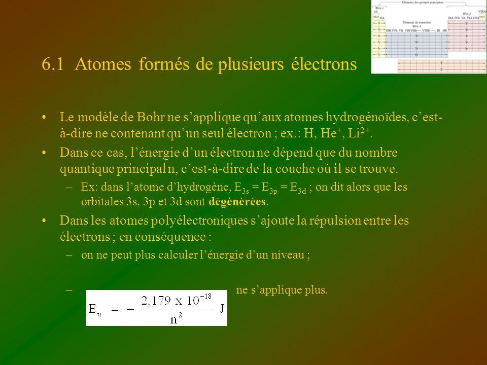 6.1 Atomes formés de plusieurs électrons