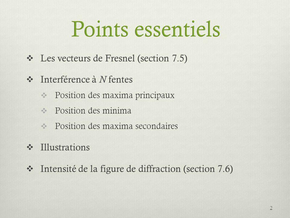 Points essentiels Les vecteurs de Fresnel (section 7.5)