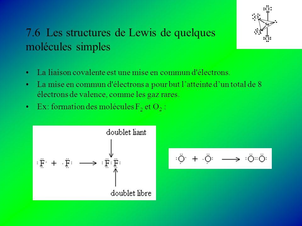 7.6 Les structures de Lewis de quelques molécules simples