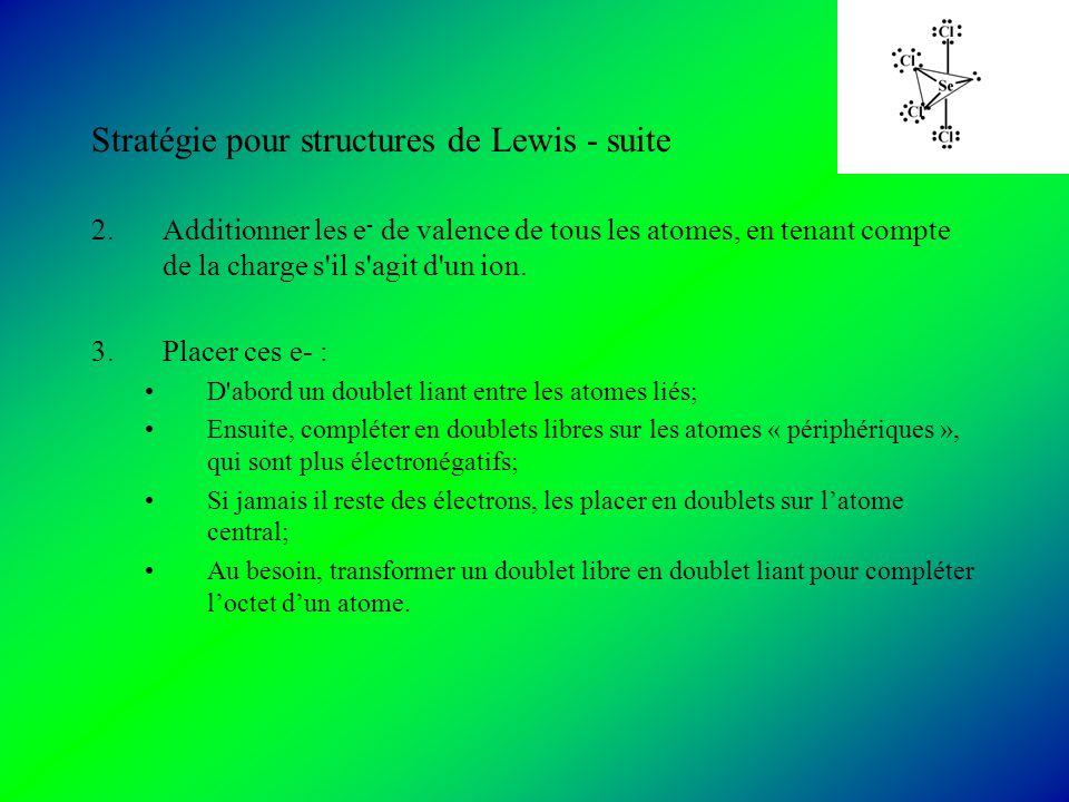 Stratégie pour structures de Lewis - suite