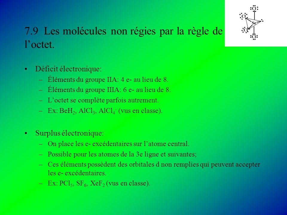 7.9 Les molécules non régies par la règle de l'octet.