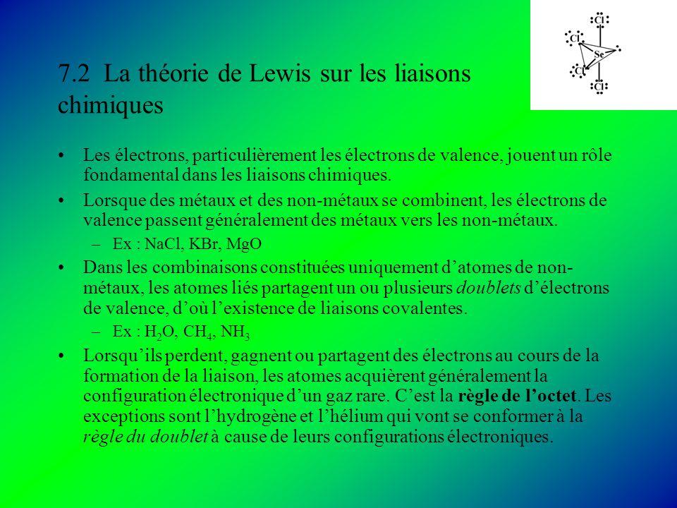 7.2 La théorie de Lewis sur les liaisons chimiques