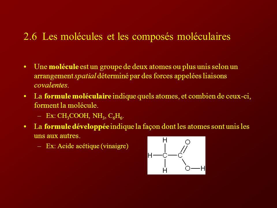 2.6 Les molécules et les composés moléculaires