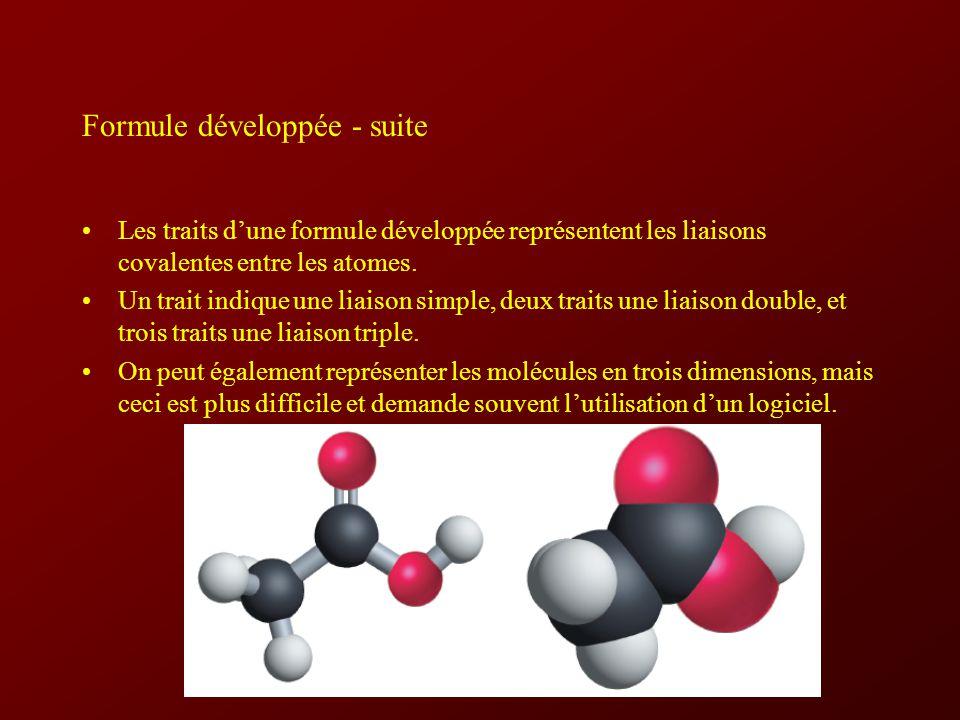 Formule développée - suite
