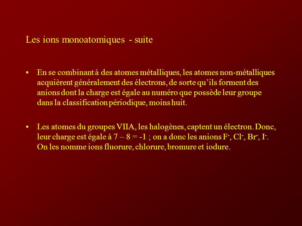 Les ions monoatomiques - suite