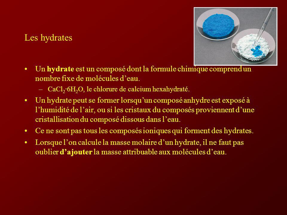 Les hydrates Un hydrate est un composé dont la formule chimique comprend un nombre fixe de molécules d'eau.
