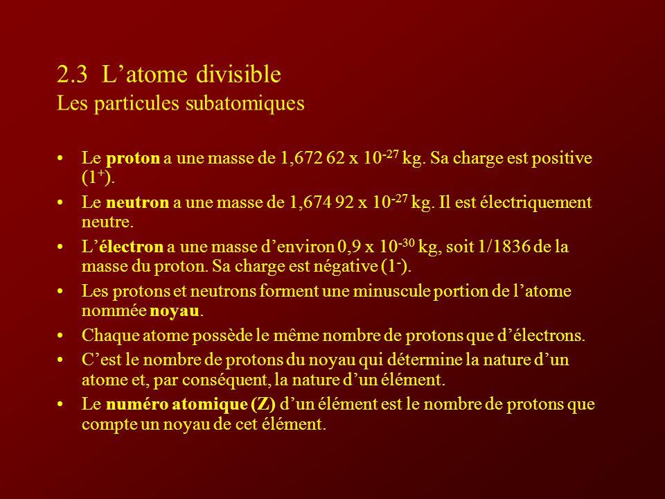 2.3 L'atome divisible Les particules subatomiques