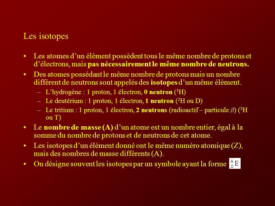 Les isotopes Les atomes d'un élément possèdent tous le même nombre de protons et d'électrons, mais pas nécessairement le même nombre de neutrons.