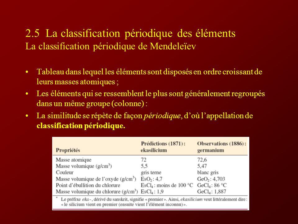 2.5 La classification périodique des éléments La classification périodique de Mendeleïev
