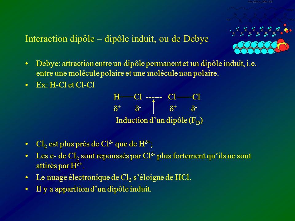 Interaction dipôle – dipôle induit, ou de Debye